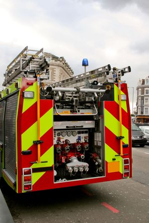 Fire truck engine in action from behind Stock Photo - 811977