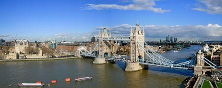 Tower Bridge and Tower of London sunny panorama  photo