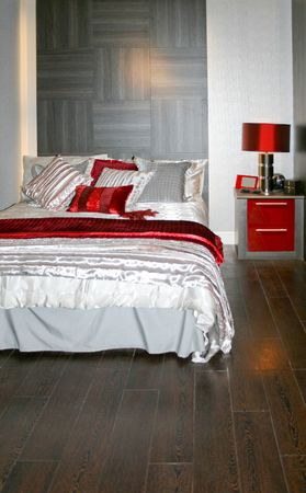 panelling: Modern bedroom with double bed and wall panelling