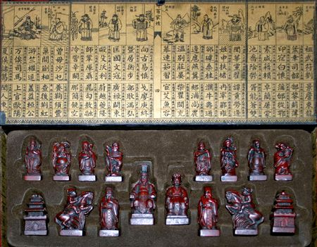 Old traditional Chinese chess figures engraved in wood photo