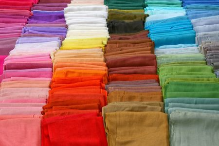 scarves: Silk scarves line up in rainbow color  Stock Photo
