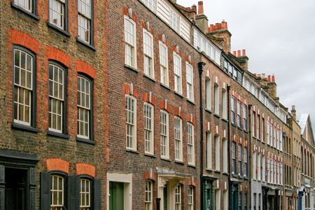streets of london: Classic old London street houses in line