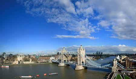 Tower Bridge and Tower of London sunny panorama