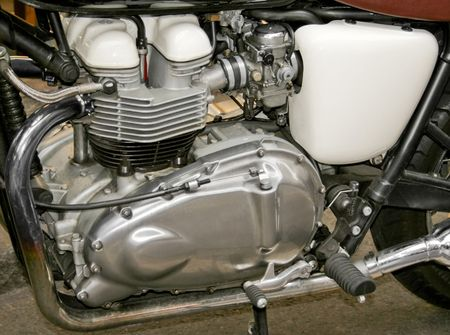 horse pipes: Vintage motorcycle four stroke engine close up