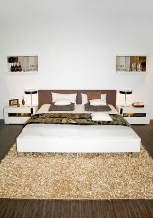 Modern bright and light bedroom with double bed photo