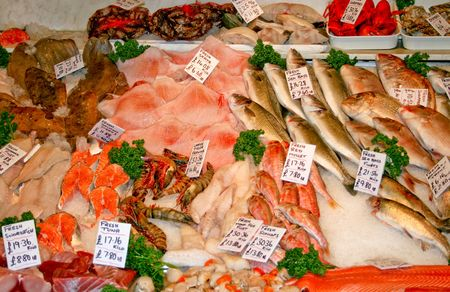 A bunch of fresh fish on the market photo