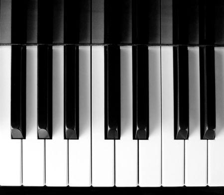 Top view of classic piano key press photo