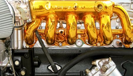 exhaust valve: Close up view of the gold engine