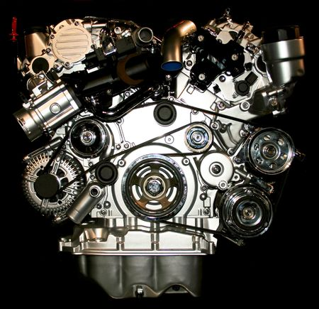 motor sport: Close up view of the silver engine