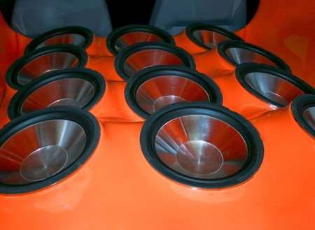 Very loud sub woofers with metal membrane Stock Photo - 881855