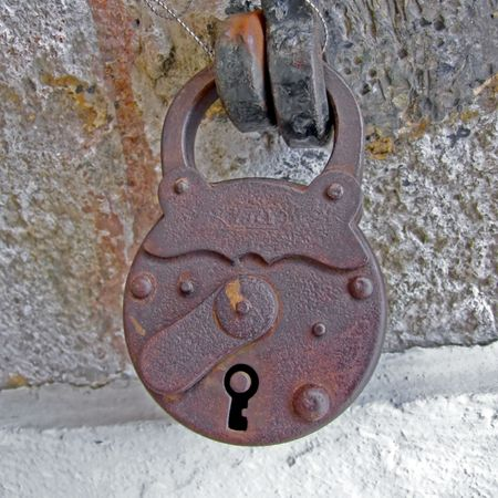 Old and rusty padlock locked safe security Stock Photo - 895038