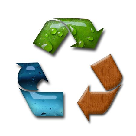 Illustration of recycling symbol with tree concepts Stock Photo