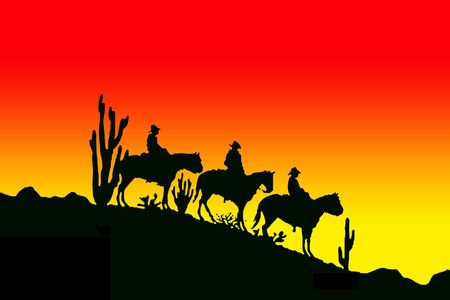 western saddle: Silhouette of the tree cowboys on the horses Stock Photo