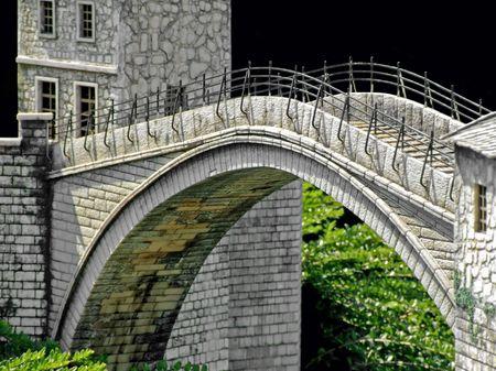 mostar: Famous jumping Mostar bridge over Neretva river Stock Photo