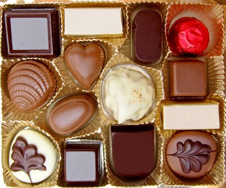 Variety of sweet chocolate in small box Stock Photo - 960952