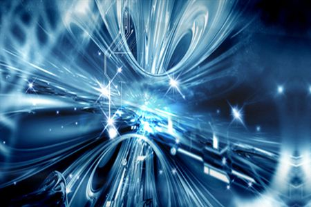 special effects: Blue cyber techno background with special effects Stock Photo