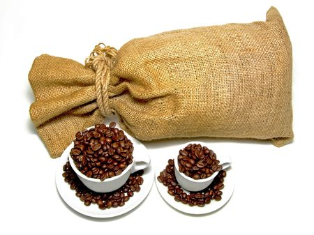 Sack and two cups with fresh coffee photo