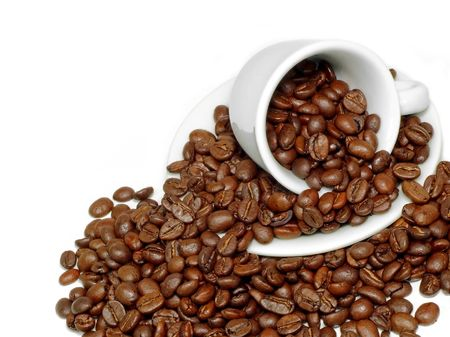 Fresh coffee beans and ceramic coffee cup Stock Photo - 1005329