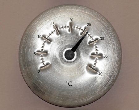 celsius: Round aluminum Celsius thermometer on the wall