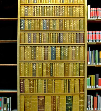 university word: Big shelf in public library with books