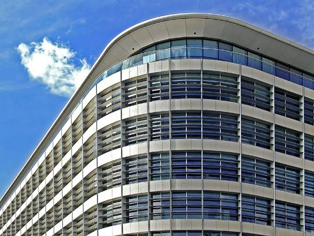 New and modern corporate geometric building corner photo