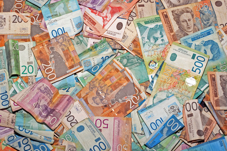 serbian: A bunch of colorful Serbian money banknotes  Stock Photo