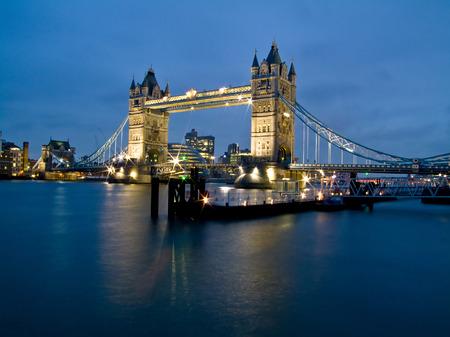 Night shot of famous London Tower Bridge photo