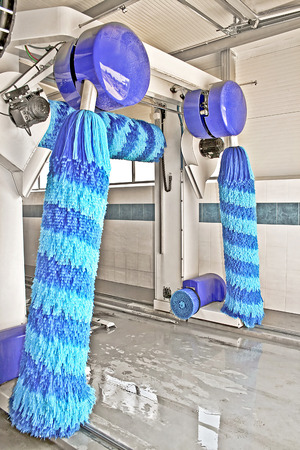 Car wash service with big blue brushes Stock Photo - 1576599