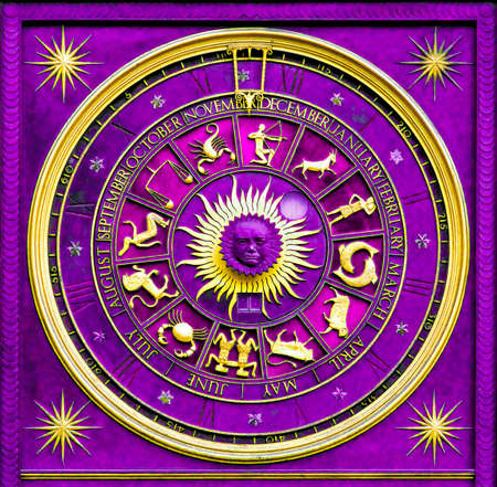 Purple zodiac clock with gold deatail and decoration photo