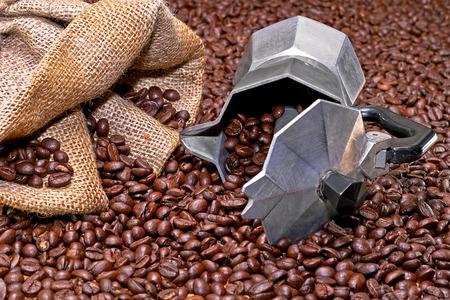 turkish coffee: Italian coffee pot and roasted coffee background