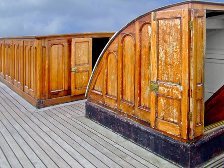 Old wooden sail ship deck cabin view  photo