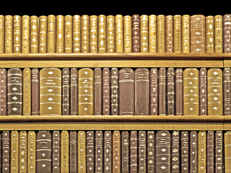 Lot of medieval old books close up