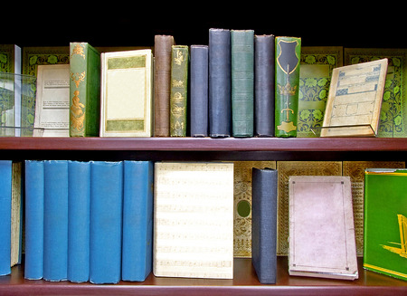 Lot of medieval old books close up photo