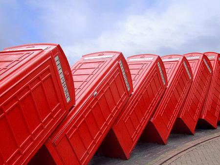 Classic British red telephone box in group Stock Photo - 1704043
