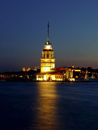 Famous Istanbul ancient lighthouse on the canal Stock Photo - 1770114