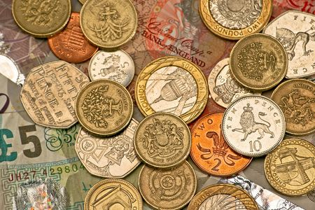 pennies: Variety of British pounds and pennies money Stock Photo