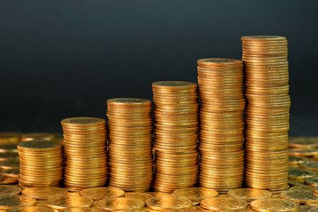 Success growth chart made of golden coins Stock Photo - 1798345