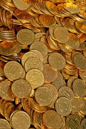Bunch of golden coins ten close up Stock Photo - 1798347