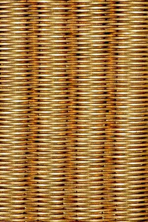 align: Golden coins align in vertical columns close up Stock Photo
