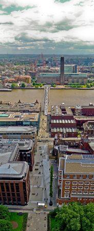 percept: Vertical panorama of Tate modern and Millennium Bridge