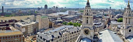 London panorama of Thames river and church towers Stock Photo