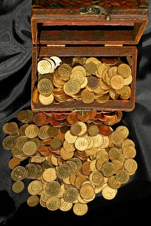 Bunch of golden money coins in the chest Stock Photo - 1874226