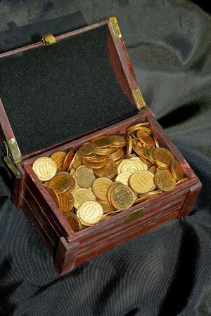 Bunch of golden money coins in the chest Stock Photo - 1874224