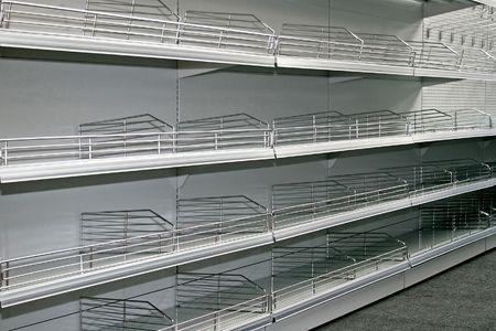 merchandise mart: Landscape shot of empty super market shelf Stock Photo