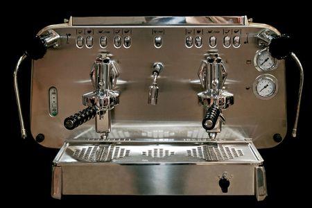Powerful automatic espresso and cappuccino machine silver Stock Photo