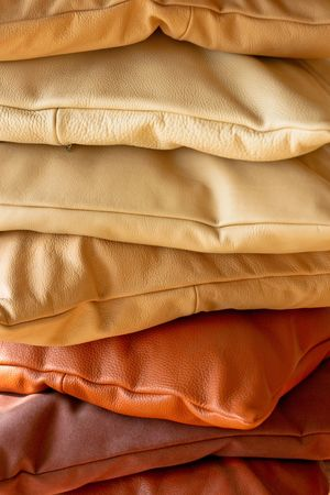 Various decorative pillows made from real leather Stock Photo - 2018309