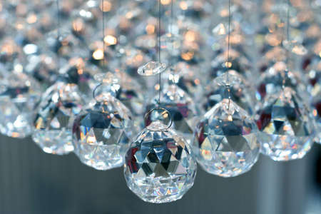 chandelier background: Bunch of diamond style luxury crystal balls