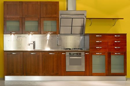 New modern kitchen with metal and wood Stock Photo - 2056706