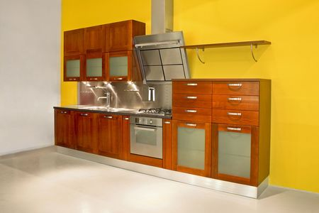 New modern kitchen with metal and wood Stock Photo - 2056705