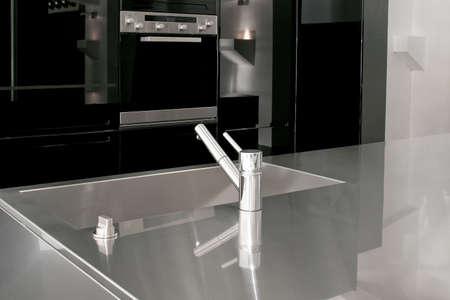 stainless steel sink: Minimalism design of modern black kitchen cabinets